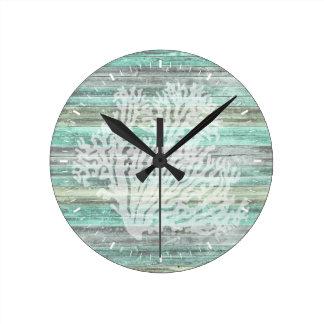 Rustic Coastal Decor Coral Round Clock