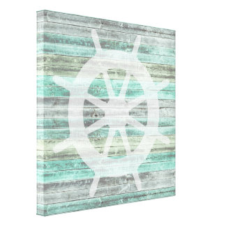 Rustic Coastal Decor Ship Helm Canvas Print