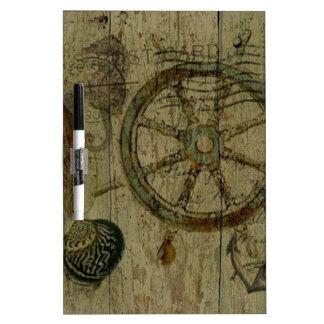 Rustic Coastal Driftwood Nautical Helm Wheel Dry-Erase Whiteboard