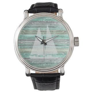 Rustic Coastal Sailboat Wrist Watches