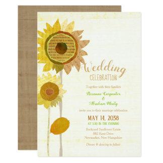 Rustic Collage Sunflowers Wedding Invitation