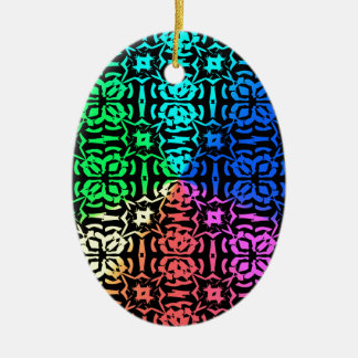 Rustic Colorful Pattern and shapes Ceramic Oval Ornament