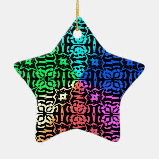 Rustic Colorful Pattern and shapes Ceramic Star Ornament