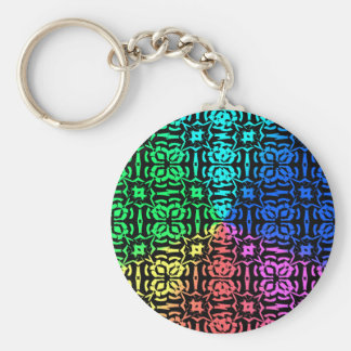 Rustic Colorful Pattern and shapes Keychain