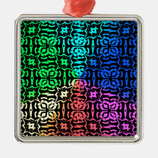 Rustic Colorful Pattern and shapes Metal Ornament