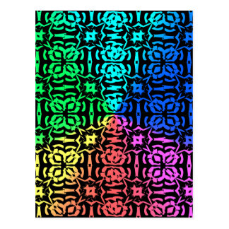 Rustic Colorful Pattern and shapes Postcard