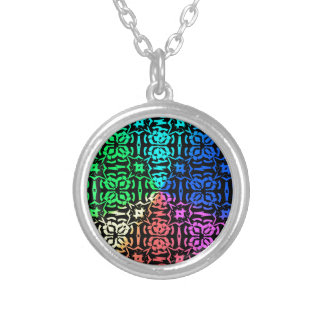 Rustic Colorful Pattern and shapes Silver Plated Necklace