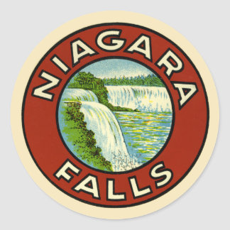 Rustic Colorful Vintage Travel Old Niagara Falls Classic Round Sticker