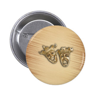 Rustic Comedy and Tragedy Theater Masks 2 Inch Round Button