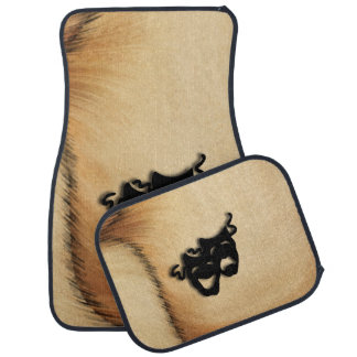 Rustic Comedy and Tragedy Theater Masks Car Mat