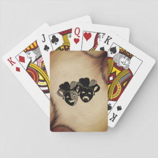 Rustic Comedy and Tragedy Theater Masks Jester Playing Cards