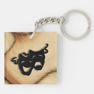 Rustic Comedy and Tragedy Theater Masks Keychain