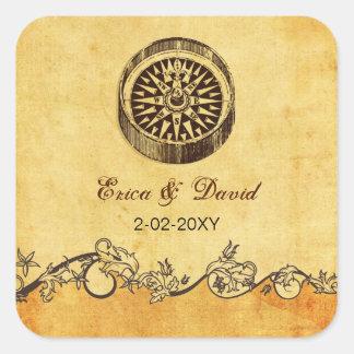 rustic compass nautical wedding  envelopes seals