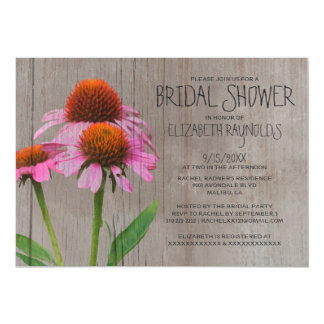Rustic Coneflower Bridal Shower Invitations