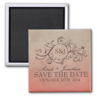 Rustic Coral and Beige Bohemian Flourish 2 Inch Square Magnet