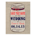 Rustic Coral & Navy Mason Jar Save the Date