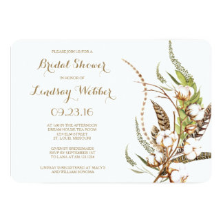 Rustic Cotton Floral Feather Bridal Shower Card