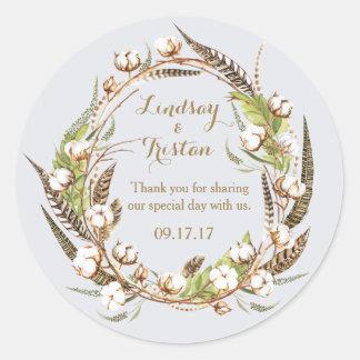 Rustic Cotton Floral Wedding Classic Round Sticker
