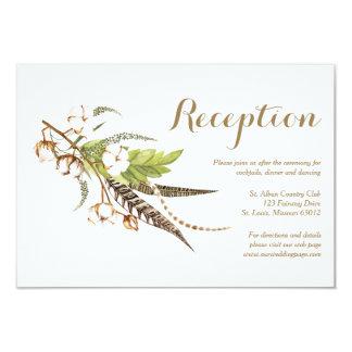 Rustic Cotton Floral Wedding Reception Card