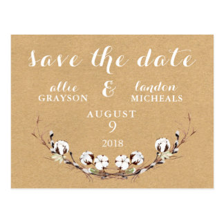 Rustic Cotton Save the Date Postcard