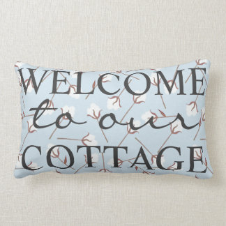 Rustic Cotton Welcome To Our Cottage - Family Name Lumbar Pillow