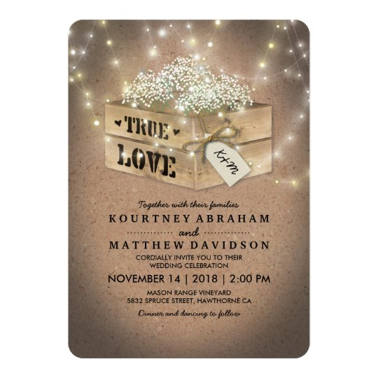 Rustic Country Baby's Breath Lights Wedding Card
