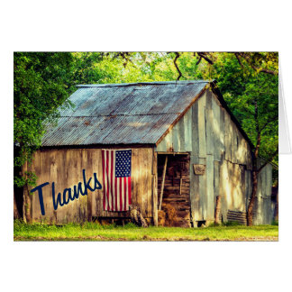 Rustic Country Barn American Flag Thanks Thank You Card