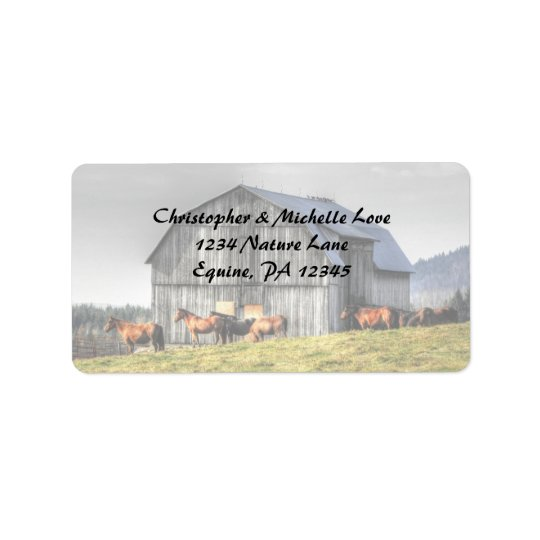 Rustic Country Barn and Horses Address