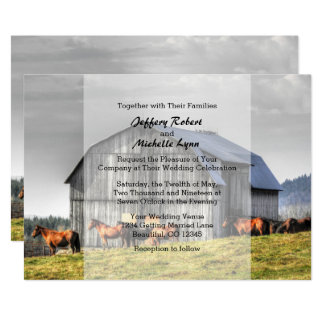 Rustic Country Barn and Horses Wedding Invitation