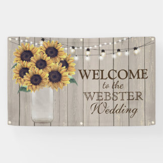 Rustic Country Barn Wedding Sunflower Mason Jar Banner