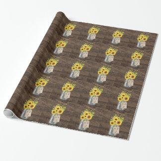 Rustic Country Barn Wedding Sunflower Mason Jar Wrapping Paper