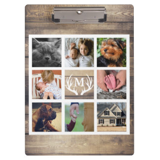 Rustic Country Barn Wood & Antlers Photo Collage Clipboard