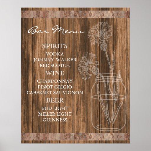 Rustic Country Barn Wood Bar Menu Poster