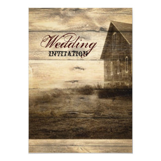 "Rustic Country Barn Wood Barn Wedding 5"" X 7"" Invitation Card"