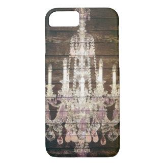 Rustic Country barn wood grain vintage chandelier iPhone 8/7 Case