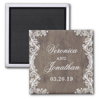 Rustic Country Barn Wood & Lace Wedding Magnet