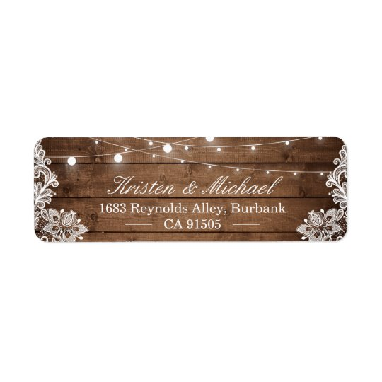 Rustic Country Barn Wood String Lights Lace