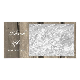 Rustic Country Barn Wood Thank You Photo Greeting Card