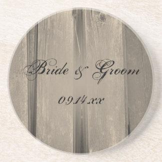 Rustic Country Barn Wood Wedding Beverage Coasters