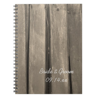 Rustic Country Barn Wood Wedding Notebooks