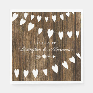Rustic Country Barn Wood Wedding or Bridal Shower Paper Napkin