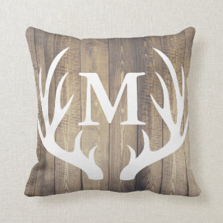 Rustic Country Barn Wood White Deer Antler Throw Pillow