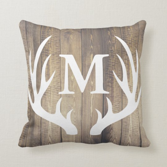 Rustic Country Barn Wood White Deer Antler Throw Pillow