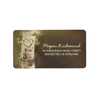 rustic country birch tree wedding address labels