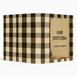 Rustic Country Black Sepia Checks Wedding Album Binders