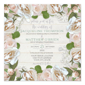 Rustic Country Blush Rose Floral Modern Wreath Card