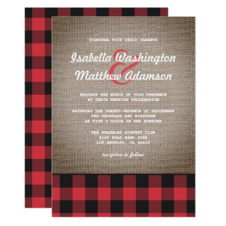 Rustic Country Buffalo Plaid & Burlap Wedding Card