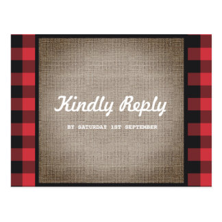 Rustic Country Buffalo Plaid & Burlap Wedding RSVP Postcard