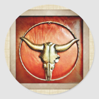 Rustic Country Bull Horns Faux Leather Design Classic Round Sticker