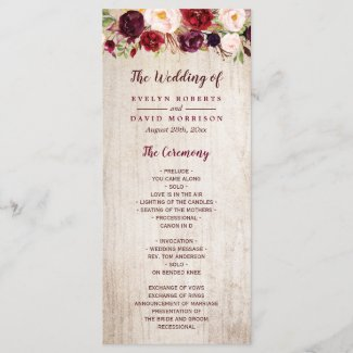 Rustic Country Burgundy Floral Wedding Program